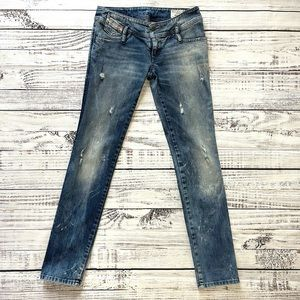 Diesel Matic Jeans Distressed Low Rise Blue Sz 27